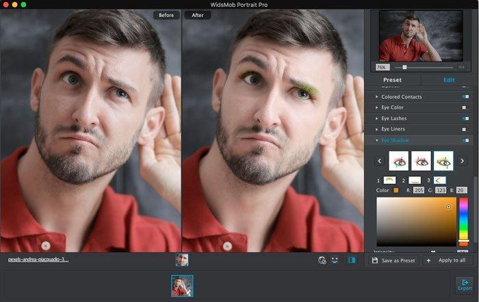 Mit Portrait Pro können Sie Portrait für aufgenommene Fotos auf dem Mac nachbessern