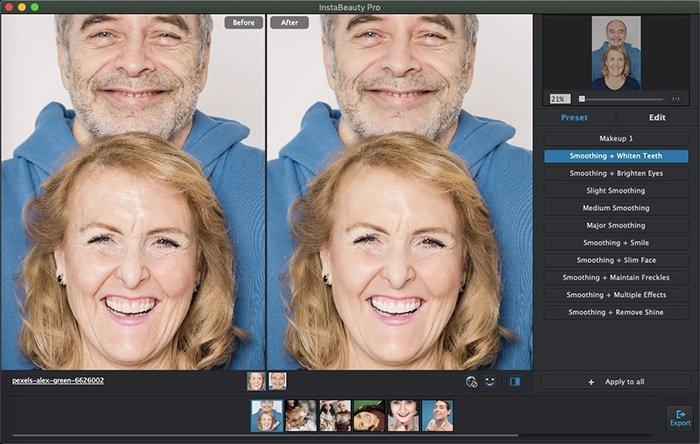 تبييض الأسنان تلقائيًا باستخدام WidsMob Portrait Pro