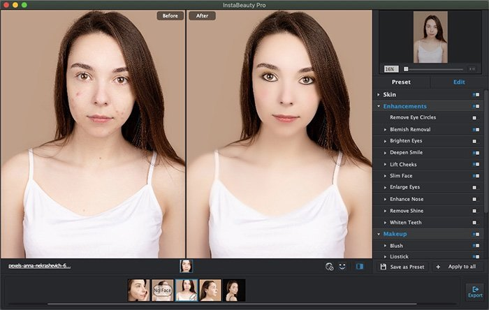 Enhance and Makeup Blemish-removed Face with WidsMob Portrait Pro