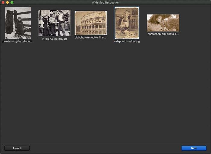 Importar fotos antigas para retocador WidsMob