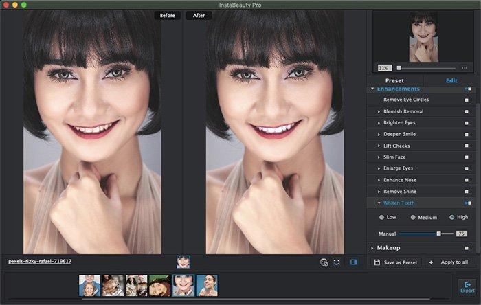 تبييض الأسنان يدويًا باستخدام WidsMob Portrait Pro