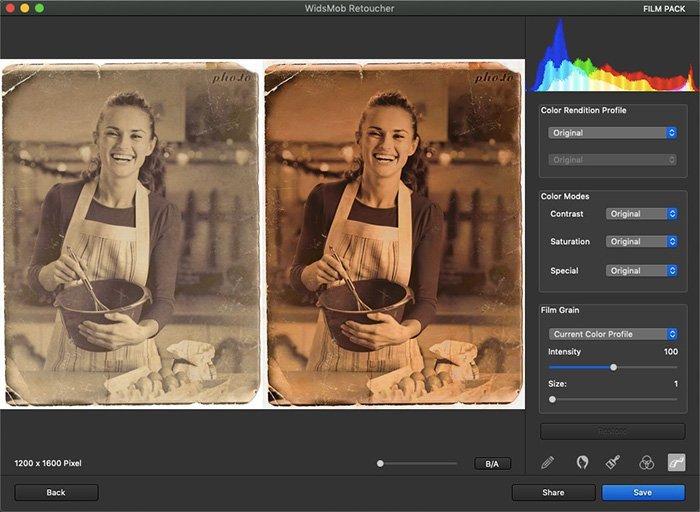 Restaurar foto antiga com efeito FilmPack no retocador WidsMob