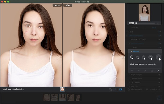 Remove Blemish with WidsMob Portrait Pro