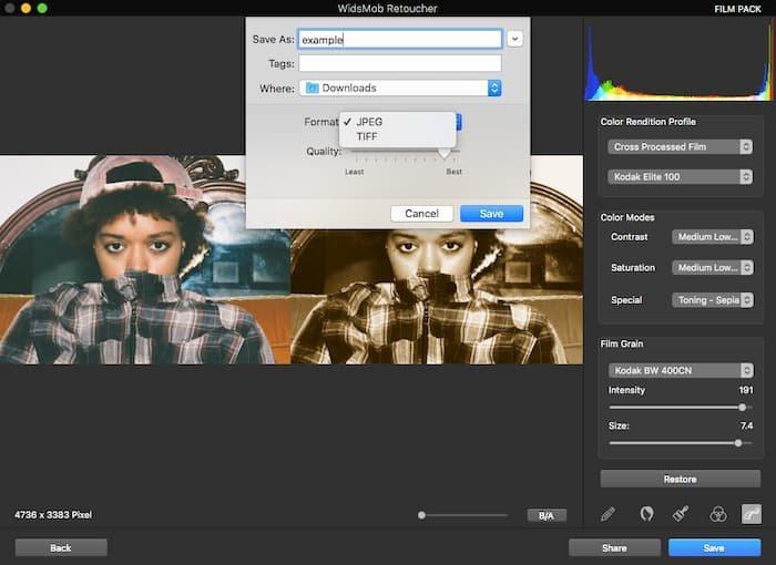 使用WidsMob修饰器保存颗粒滤镜效果图片
