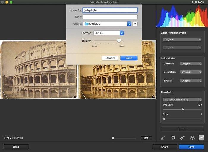 Salvar fotos antigas restauradas com retocador WidsMob