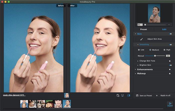 تعديل الجلد باستخدام WidsMob Portrait Pro