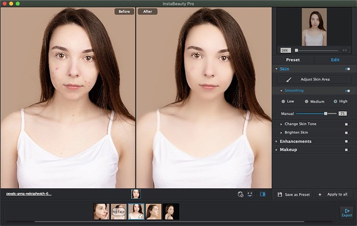 Smooth Skin to Remove Blemish with WidsMob Portrait Pro