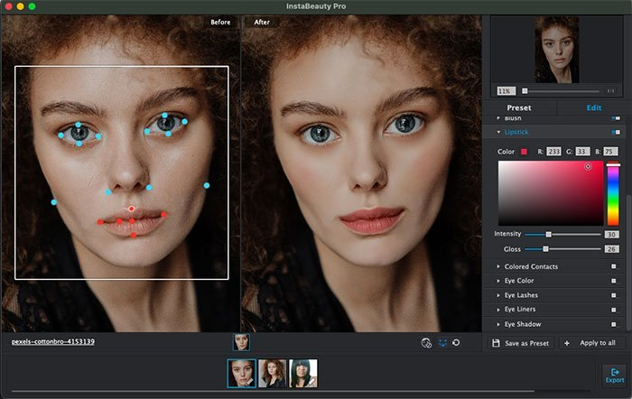 Adjust Face Key Point with WidsMob Portrait Pro