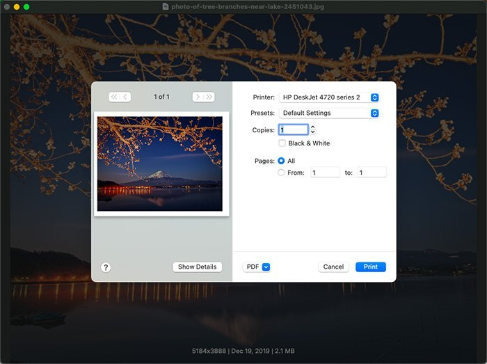 Imprimer des photos avec WidsMob Viewer Pro