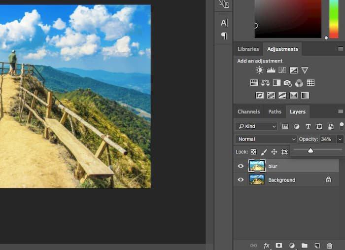 Ajustar la opacidad de Photoshop