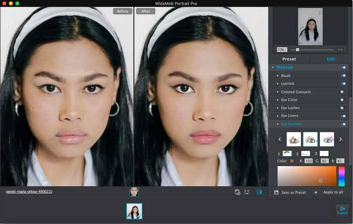 Foto da cabeça de maquiagem