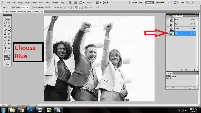 Velg Blå fra Channel Photoshop