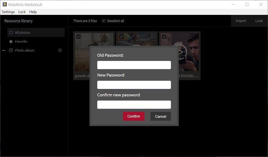 Change Password MediaVault Win