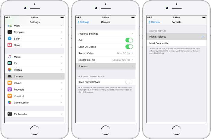 Velg HEIC som iPhone-format