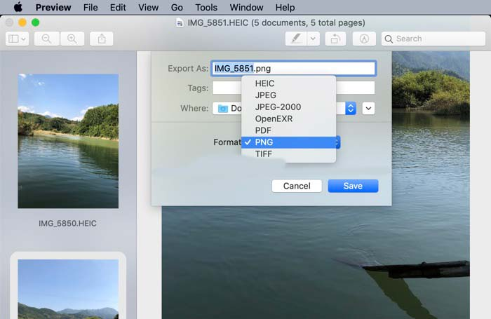 Konverter HEIC Images Preview Mac