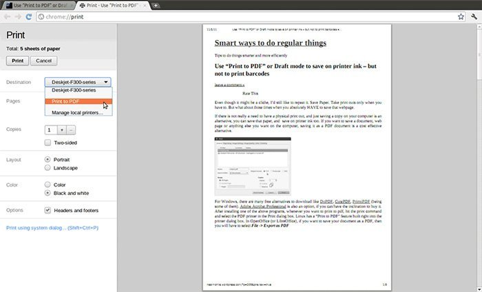 GoogleChromeをPDFに印刷