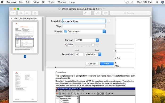 Конвертируйте PDF в JPG с предварительным просмотром
