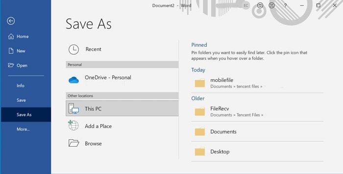 Enregistrer Word au format PDF