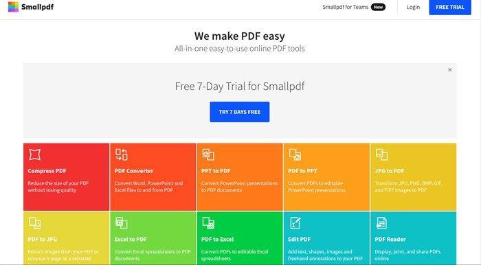 Gratis PDF Editor Smallpdf