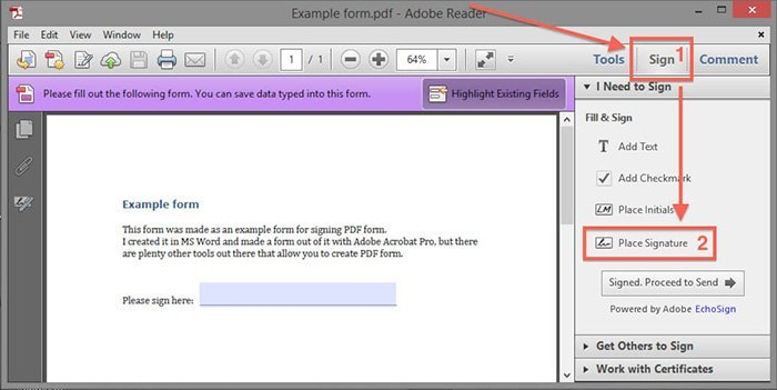 Documents de signature Adobe Windows