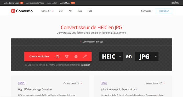 Conversion HEIC en JPEG