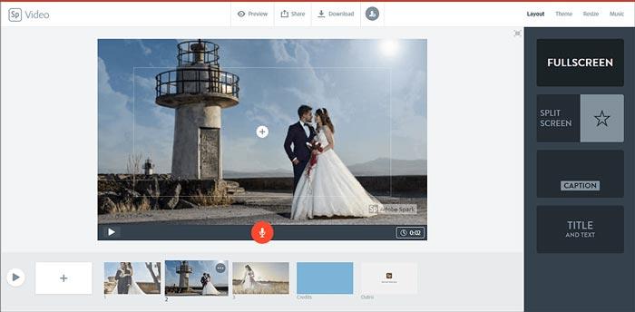 Diaporama de mariage Adobe Spark
