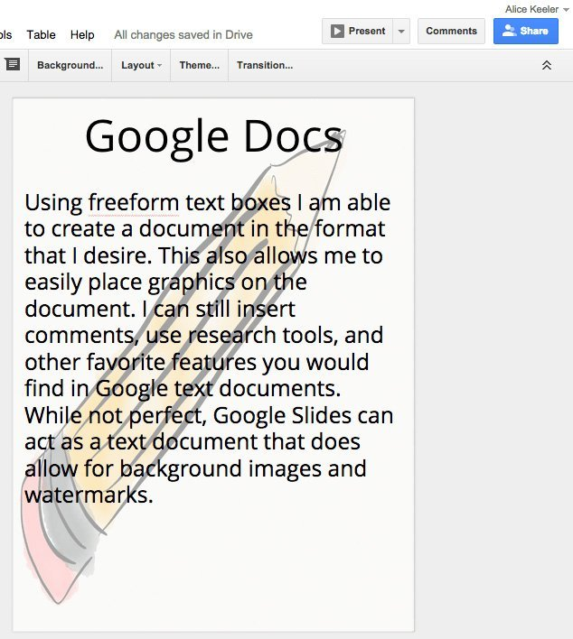 Fjern vannmerke fra Google Doc